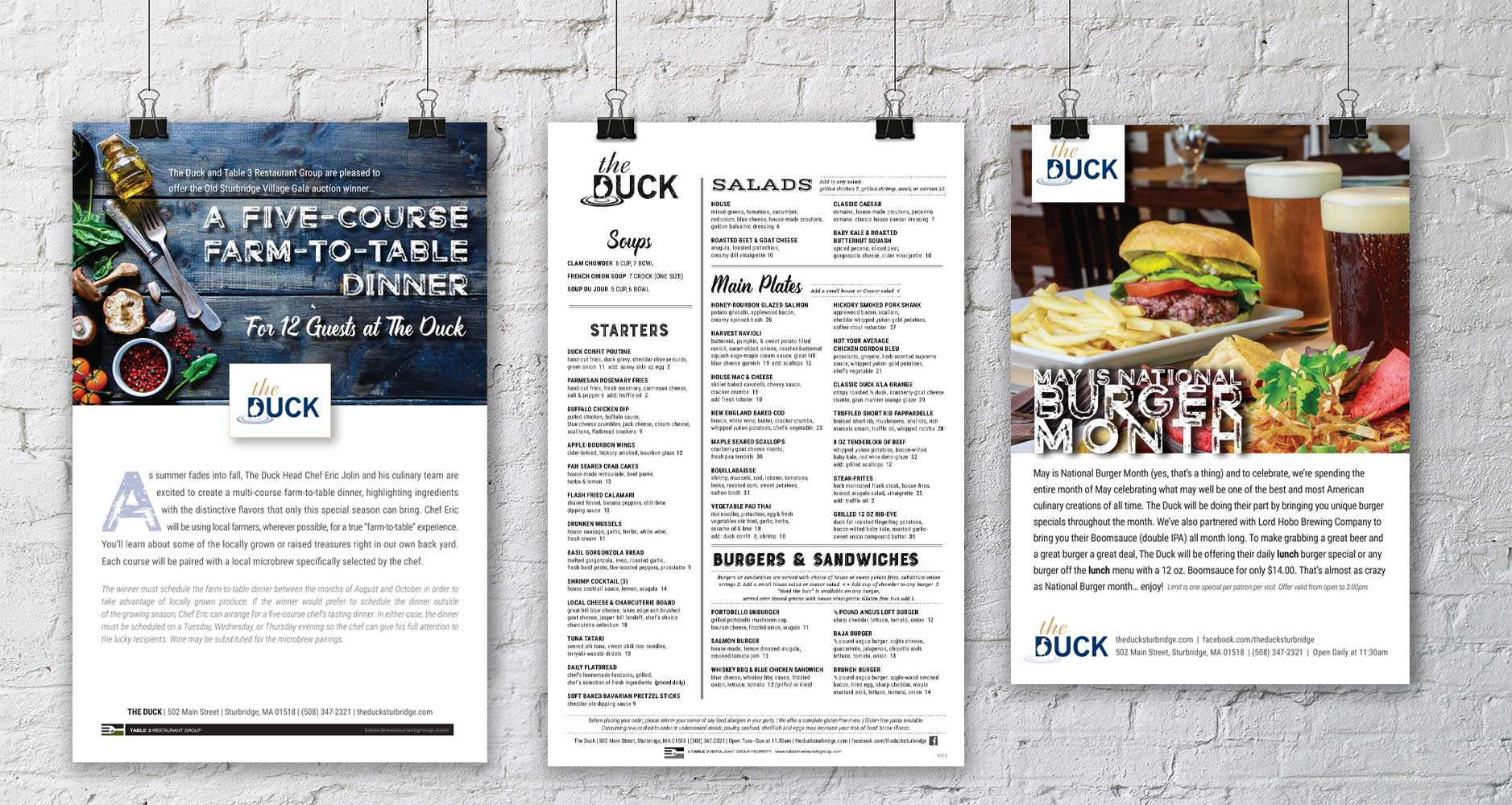 Poster Design and Menu Design for the Duck