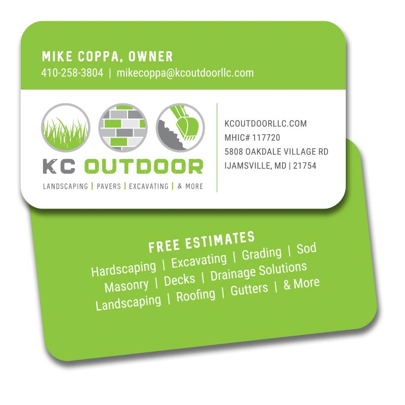 Business card design for KC Outdoor