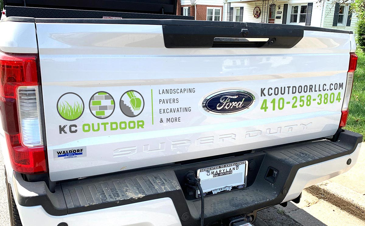 Vehicle graphics design for KC Outdoor Truck - back