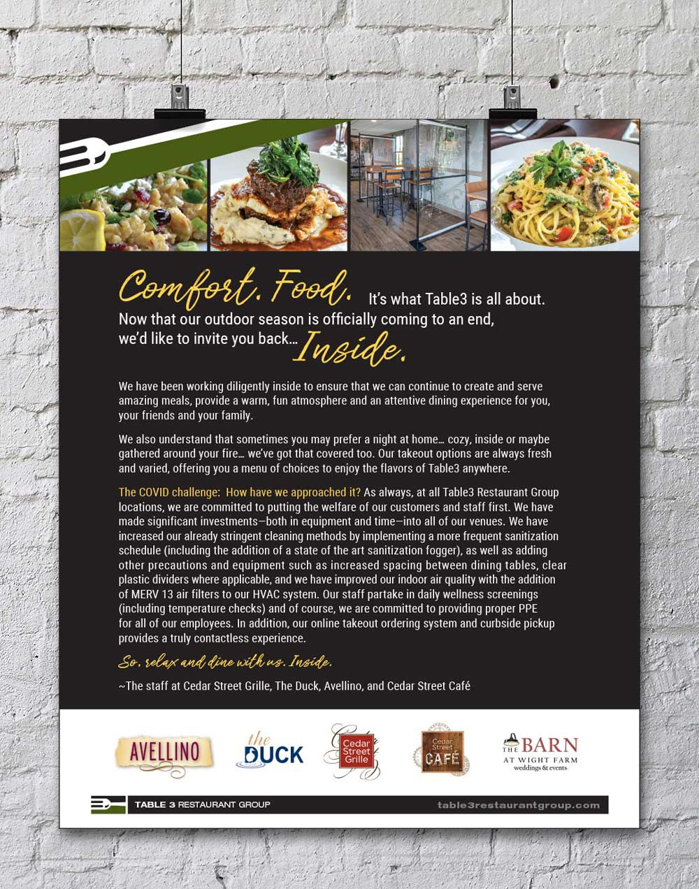 Print ad design for Table 3 Restaurant Group