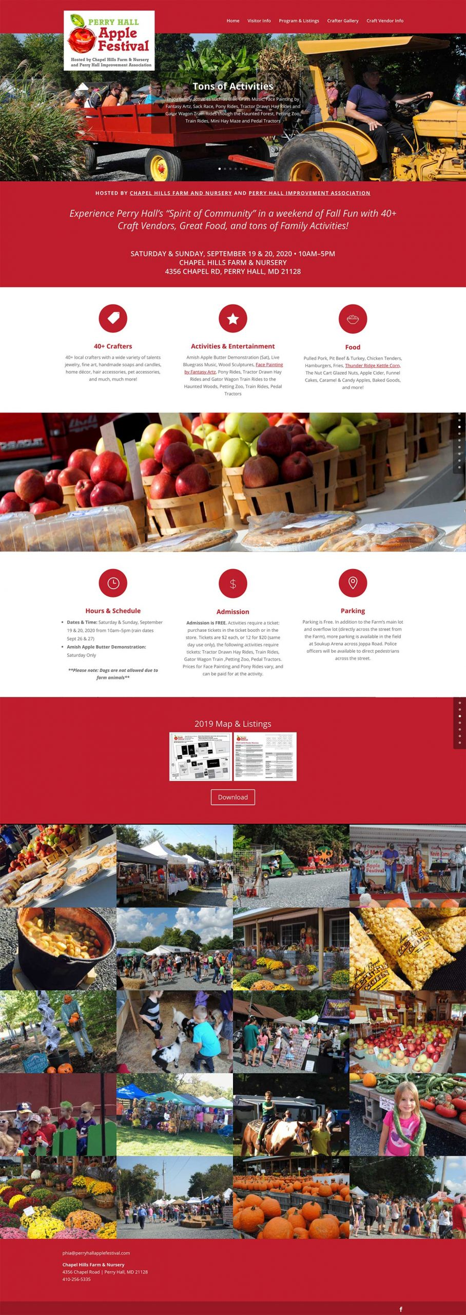Website design for Perry Hall Apple Festival