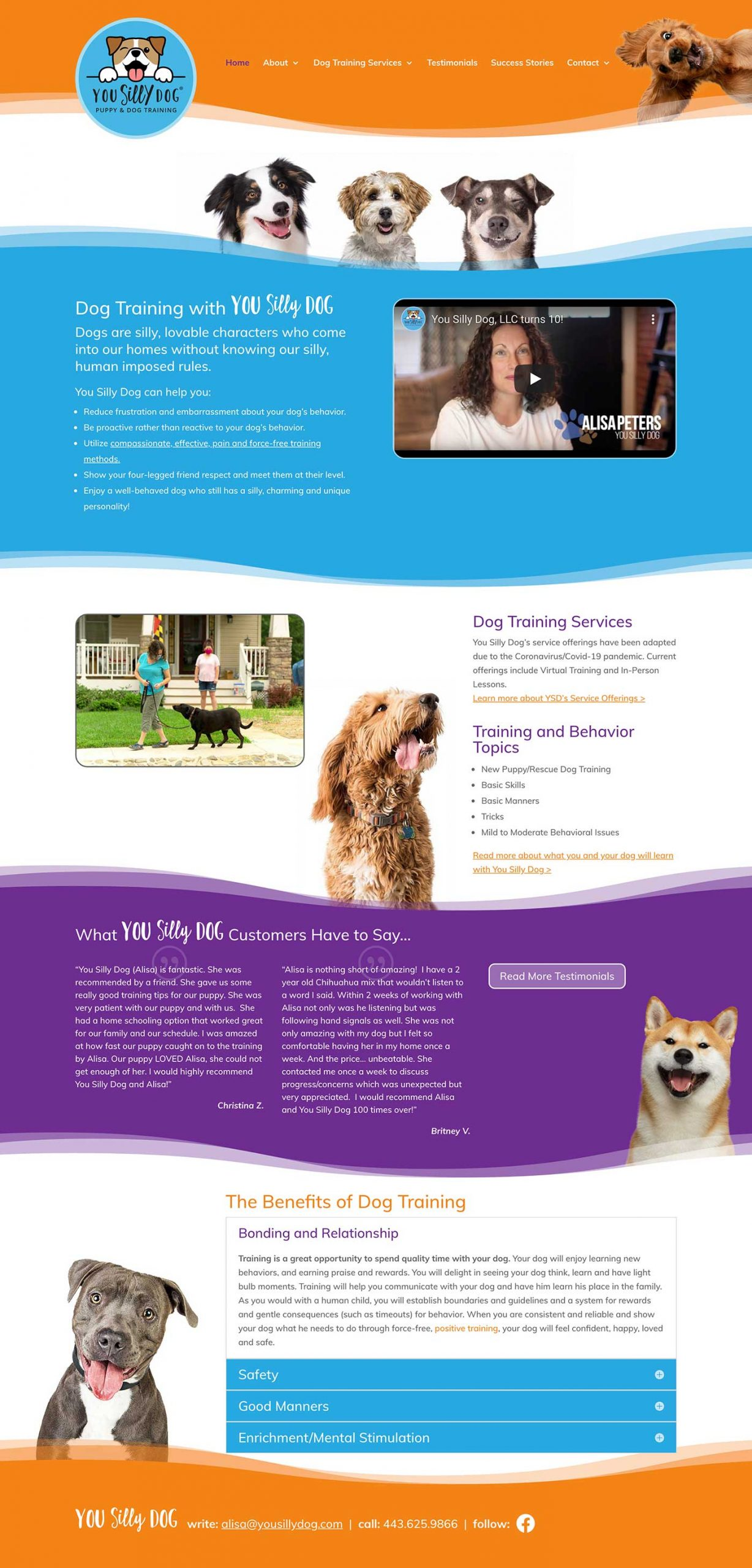 Website design for You Silly Dog